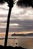 Sunset Cruise. Cruise Ship off the coast of Maui stock images