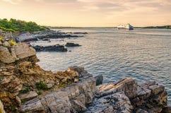 Sunset and cruise boat Stock Photo