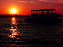 Sunset cruise over Zambezi. River, Zimbabwe Stock Photography