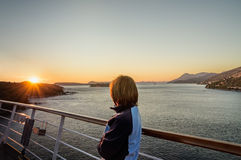 Sunset on the cruise ship Royalty Free Stock Photography