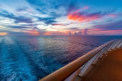 Sunset From A Cruise Ship Royalty Free Stock Photo