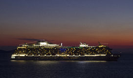 Sunset cruise ship Stock Image