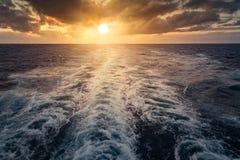 Sunset from cruise ship Stock Image