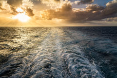 Sunset from cruise ship Royalty Free Stock Image