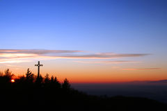 Sunset cruises. Crosses at sunset views from the sanctuary stock photo