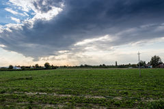 Sunset on cultivated fields Stock Photography