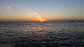 Sunset - Cuxhaven. Beautiful sunset in Cuxhaven, sea, orange sky Royalty Free Stock Images