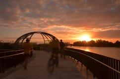 Sunset Cycling, Jewel Bridge, Singapore Stock Photography