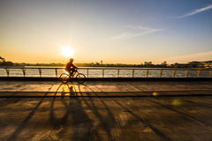 Sunset cycling Royalty Free Stock Image