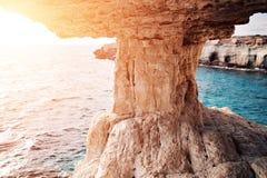 Sunset in Cyprus - Mediterranean Sea coast. Sea Caves near Ayia Napa. Royalty Free Stock Image