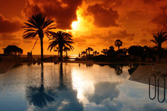sunset on cyprus resort Stock Photos