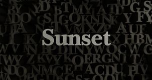 Sunset - 3D rendered metallic typeset headline illustration Royalty Free Stock Photos