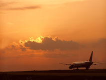 Sunset in Dallas Airport Royalty Free Stock Photography