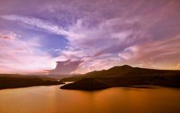 Sunset dam Stock Photo