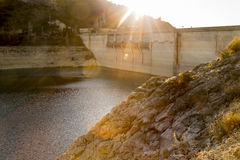 Sunset on the dam Royalty Free Stock Image