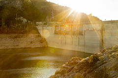 Sunset on the dam Royalty Free Stock Photography