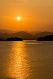 Sunset in dam Stock Photos