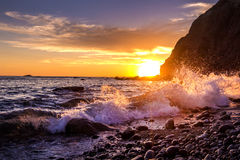 Sunset ,Dana Point, California. Ocean wave royalty free stock image