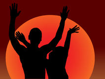 Sunset Dance. Silhouettes of man and woman holding up their hands in front of the setting sun. Illustration Stock Images