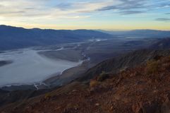 Sunset at Dante`s View in Death Valley California. Thanksgiving sunset. Blue mountains, white salt flats royalty free stock images