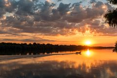 Wild Danube delta colorful sunset. Sunset in Danube Delta , Romania, colorful dramatic sky royalty free stock photography