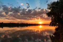 Wild Danube delta colorful sunset. Sunset in Danube Delta , Romania, colorful dramatic sky royalty free stock image