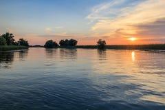 Danube Delta, Romania. Sunset in the Danube Delta, Romania, Europe stock photography