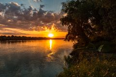 Wild Danube delta sunset camping. Sunset in Danube Delta , Romania royalty free stock photo