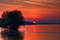 Sunset on the Danube. Red sunset on the Danube Stock Photography