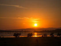 Sunset on Danube river at Moldova Noua. Romania Royalty Free Stock Images
