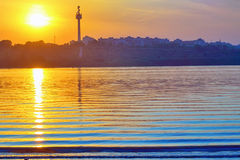 Sunset on Danube river Stock Photo