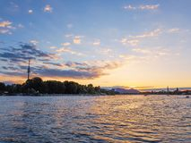 Sunset on the Danube. River in Vienna, june 2018 royalty free stock images