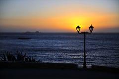Sunset with dark sea horizon. Natural landscape royalty free stock image