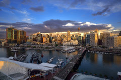 Sunset of Darling Harbour. SYDNEY, AUSTRALIA - May 15, 2017 : Sunset of Darling Harbour, adjacent to the city center of Sydney and also a recreational place in Stock Photo