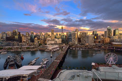 Sunset of Darling Harbour. SYDNEY, AUSTRALIA - May 15, 2017 : Sunset of Darling Harbour, adjacent to the city center of Sydney and also a recreational place in Royalty Free Stock Photo