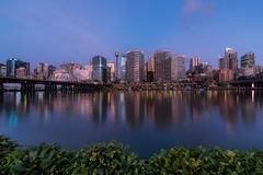 Sunset of Darling Harbour. SYDNEY, AUSTRALIA - May 15, 2017 : Sunset of Darling Harbour, adjacent to the city center of Sydney and also a recreational place in Royalty Free Stock Image