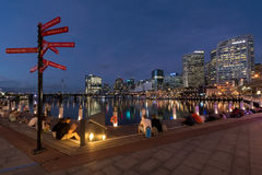 Sunset of Darling Harbour. SYDNEY, AUSTRALIA - May 15, 2017 : Sunset of Darling Harbour, adjacent to the city center of Sydney and also a recreational place in Stock Photography