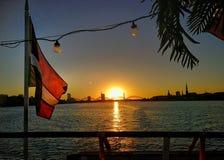 Daugava. Sunset on the Daugava royalty free stock photography