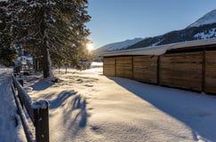 Sunset on Davos in Switzerland Stock Photo