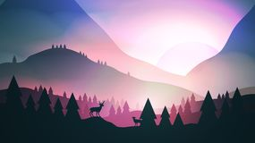 Sunset or Dawn Over Mountains with Stag on Hill Top Pine Forest Stock Photography