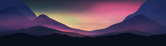 Sunset or Dawn Over Silk Mountains Landscape Panorama - Vector I Royalty Free Stock Photos