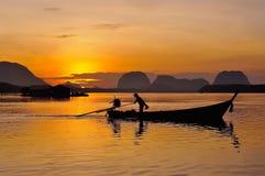 Sunset at dawn in Phang Nga Royalty Free Stock Images