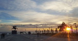 Sunset day. In a greek town in greece thessaloniki Stock Images