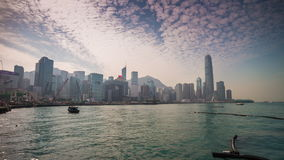 Sunset day hong kong bay dock construction panorama 4k time lapse china. China sunset sunny day hong kong bay dock construction cityscape panorama 4k time lapse stock video footage