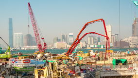 Sunset day hong kong bay industrial construction panorama 4k time lapse china