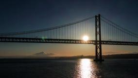 Sunset on the 25 de Abril Bridge in Lisbon stock video