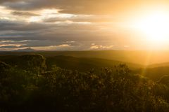Sunset in the De Hoop national reserve, South Africa. Mountain panorama during sunset in the De Hoop national reserve, South Africa royalty free stock photos
