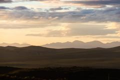 Sunset in the De Hoop national reserve, South Africa. Mountain panorama during sunset in the De Hoop national reserve, South Africa royalty free stock images