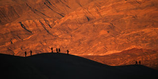 Sunset at the Death Valley Sand dunes Royalty Free Stock Image