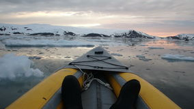 Sunset in Deception Bay, Antarctica by kayak stock footage
